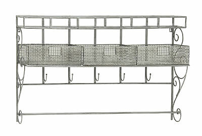 Sparkling Metal Wall Shelf with Hook