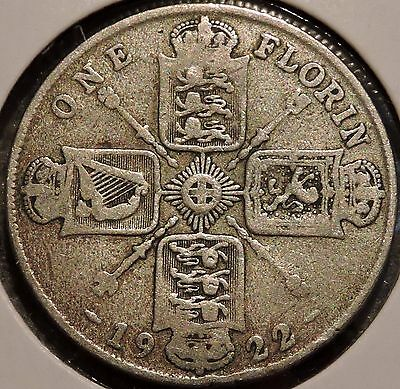British Florin - 1922 - Big Silver Coin - $1 Unlimited Shipping
