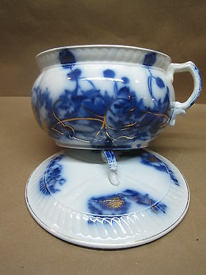 Antique Flow Blue Chamber Pot With Lid Poppy Pattern Made In England