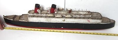 """Old Vintage FOLK ART 34"""" Large WOOD/Wooden TITANIC? SHIP/BOAT-For Repair-AS-IS"""