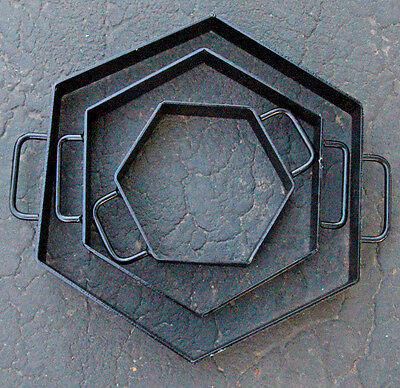 Set Of 3 Hexagon Patio Step CONCRETE CEMENT MOLD Walk ALL METAL USA NEW DIY
