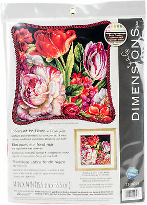 "Dimensions Bouquet On Black Needlepoint Kit-14""X14"" Stitched In Thread"