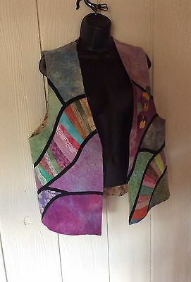 Women's Vtg 70s Quilted Pastel Hippie Boho Cotton Vest  XL XXL