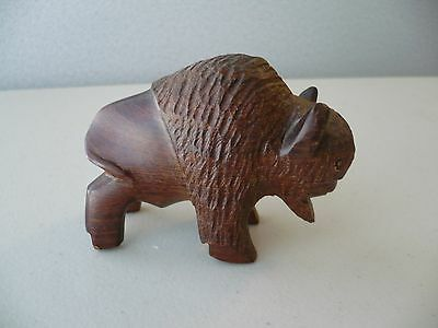 Hand Carved Wood BUFFALO BISON Figure Sculpture Signed Free Shipping