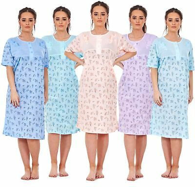 Women Ladies New Nightshirt Rich Cotton Floral Print Short Sleeve Nightwear