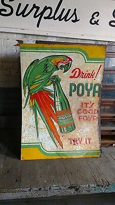 Poya Soda Sign Advertising Non Porcelain Antique Original Pop Not Cut Parrot