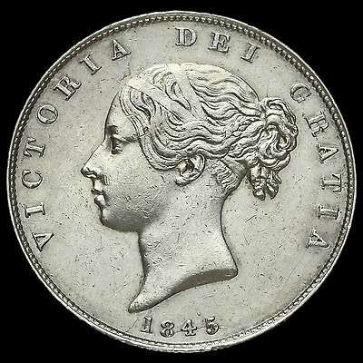 1845 Queen Victoria Young Head Silver Half Crown, AEF / EF