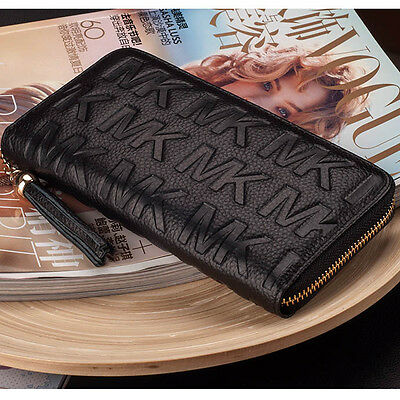 new lady women purse real leather clutch wallets long card holder zip handbag