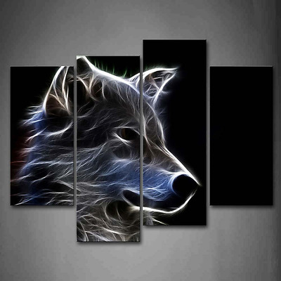 Grey Wolf Wall Art Painting Pictures Print On Canvas Home Modern Decoration