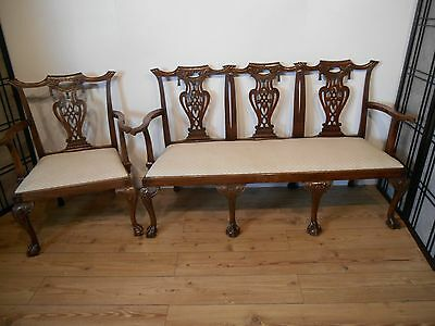 Chippendale style sofa Bench and carver chair