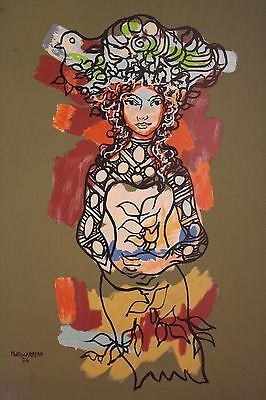 Cuban Art Master Rene Portocarrero Genuine Art Serigraphy Signed On The Plate