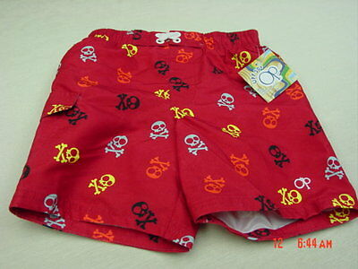NWT Toddler Boys Op Red Skeleton Swim Suit Trunks New Beach Wear Fun Bottom