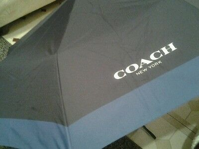 Coach Nylon Retractable Umbrella  Black/blue F65206 Nwt