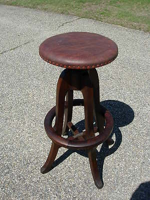 M. DAVIDMAN NY Industrial Wood & Iron Revolving Drafting Factory Stool Steampunk