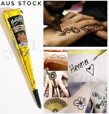Henna Paste Cone Natural Herbal Tattoo Body Paint Drawing Fun & Lasting in BLACK