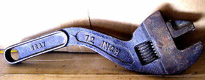 """Gray 12"""" Adjustable Wrench Shaped Curved Railroad Heavy Automotive"""