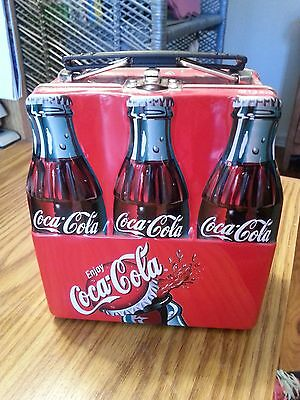 """Mini Metal 6 Pack Coca Cola Lunch Box  6"""" Tall Mint Condition!"""