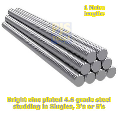 Metric zp steel studding 1m metre zinc plated allthread stud bar threaded rod