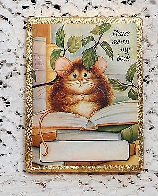"""30 Vintage """"PLEASE RETURN MY BOOK"""" Cute Mouse Bookplate Decorative Labels in Box"""