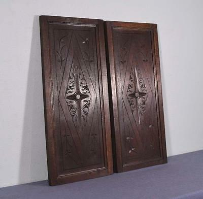 *French Antique Pair of Hand Carved Architectural Panels Solid Oak Wood