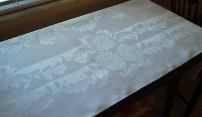 Vintage Irish Linen Double Damask Banquet Tablecloth Feathery Plumes Mums 122""