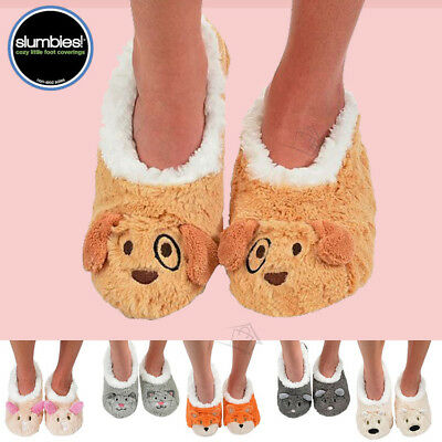 NEW SLUMBIES Fur Animals Womens Slippers Socks Non-Skid Soles Soft Shoes Jiffies