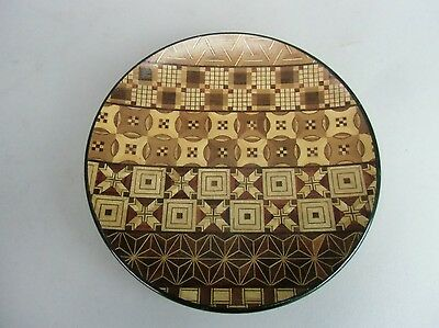 LW579  Japanese Wood Plate Hand made Brown Marquetry 5.7 in. Vtg Yosegi