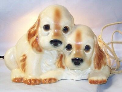 Vintage Cocker Spaniel Lamp Night Light Signed Claes Copyright Ch 56'