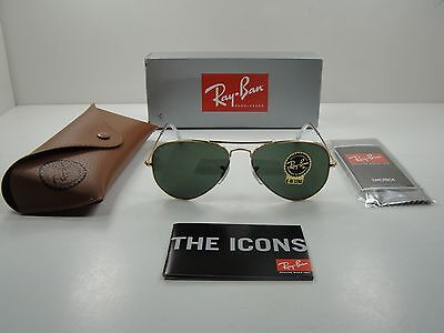 d729cf0a07a Ray-Ban Aviator Large Metal Sunglasses Rb3025 W3234 Gold Frame green Lens  55Mm