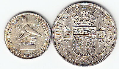 SOUTHERN RHODESIA 1 shilling ½ crown 1937 KM11+13 Ag925 NICE & RARE in TOP GRADE