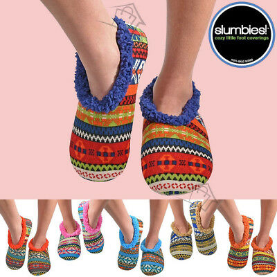 NEW SLUMBIES Aztec Womens Slippers Socks Shoes Non-Skid Soles Soft Jiffies