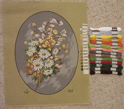 TAPESTRY CANVAS FLOWERS with ALL COTTON APRICOTS  YELLOWS & GREENS ETC OVAL