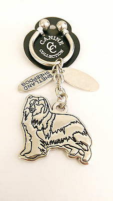 "NEW Canine Collection Silver-Plated ""Shetland Sheepdog"" Key Chain Ring & Dog Tag"