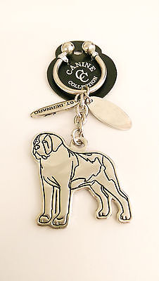 "NEW Canine Collection Silver-Plated ""St. Bernard"" Key Chain Ring & Dog Tag"