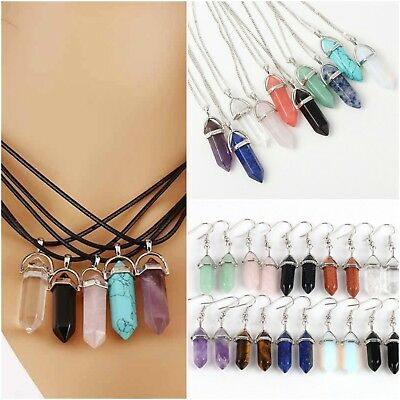 Quartz Natural Stone Healing Crystal Chakra Gemstone Pendant Necklace W/Chain