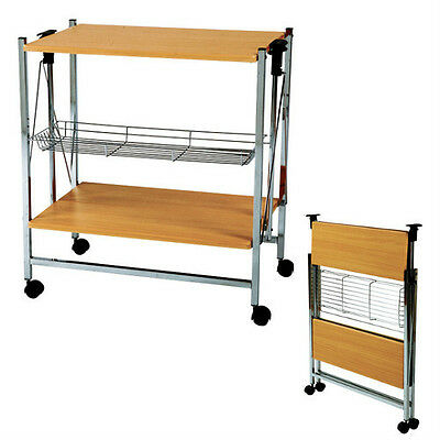 New Kitchen Cart Dining Serving Island Folding Rolling Wheeled Storage PW-314NA