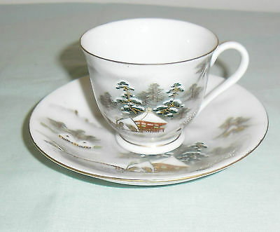 Vintage Kutani Demitasse Coffee Cup & Saucer  : Mountain Lakeside Scene