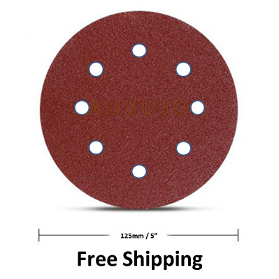 "125mm 5"" 40 - 1000 Grit Pack Size Round Sanding Disc Discs Hook Loop 8 hole"