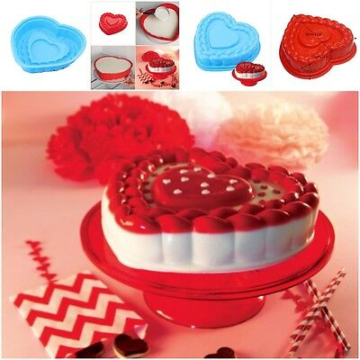 Large Love Heart Shape 3D Silicone Mold Bakeware Baking Cake Pan Tray Chocolate