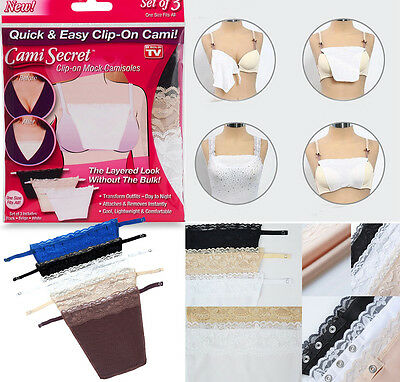 5pc Cami Secret Lace Clip On Mock Camisole Bra Insert Modesty Panel Metal Button