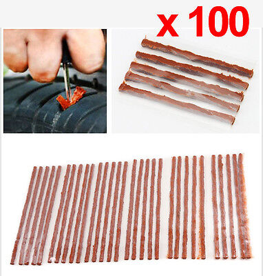 "Thick Brown Tubeless Tyre Repair Kit Inserts Plugs Strings 8"" x 30 Strips"