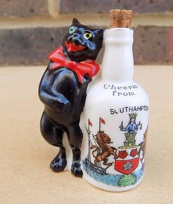 ARCADIAN Crested China Black Cat with Bottle - Southampton