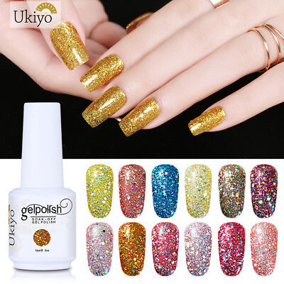 Ukiyo Diamond Glitter Soak-off UV Gel Polish UV LED No Wipe Top Base Coat 15ML