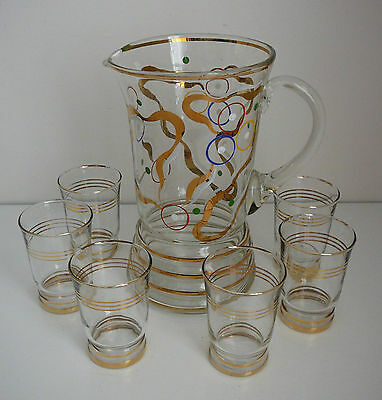 Vintage Retro Cocktail Water Jug Set Glasses Drinks Gold Rim Painted Unusual