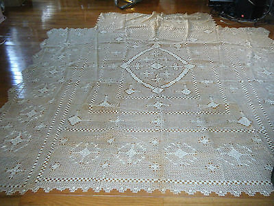 Old Antique BEADSPREAD FILET NET LACE Hand-knotted emb/ed Italy Edwardian time