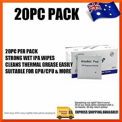 20pc Thermal Paste Removal Screen Cleaner IPA Pads, TIM Removal, GPU CPU & More