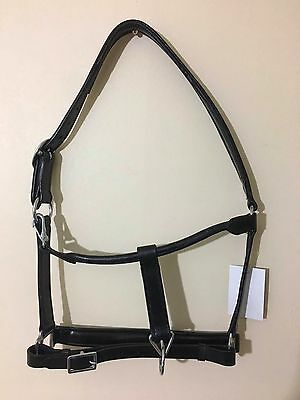 Genuine leather horse full headcollar  black or brown head collar