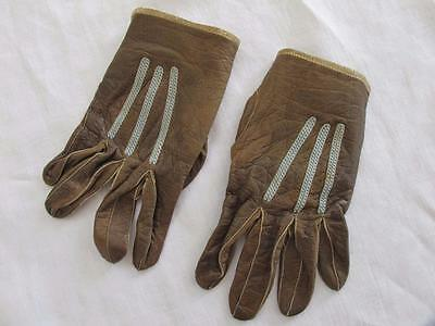 ANTIQUE EDWARDIAN BROWN LEATHER & BLUE EMBROIDERED CHILD'S GLOVES c1910