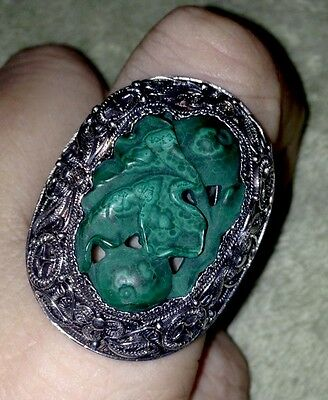 Antique Chinese Export Silver Filigree Carved Malachite!! Superb Quality! RARE!!