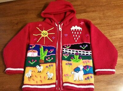 Hand Knit Children's Cardigan Sweater Red Hooded Zip Embroidered Peru Llama